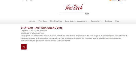 image Dégustation Château Haut-Chaigneau 2016 par Yves Beck