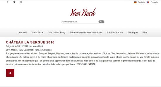 image Dégustation de La Sergue 2016 par Yves Beck