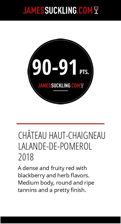 Notes du Château Haut-Chaigneau 2018 par James Suckling 91/100