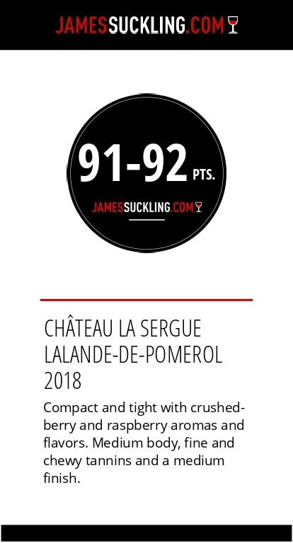 Notes La Sergue 2018 par James suckling 92/100